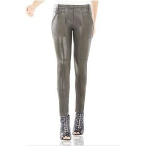 BCBGMAXAZRIA olive green connor faux leather pant